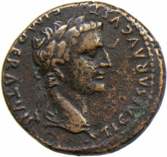 Picture of Tiberius as Caesar. A.D. 4-14. Lugdunum - A.D. 12-14. Æ As.