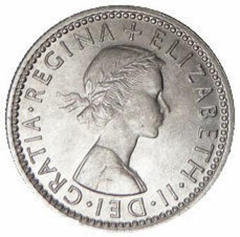 Picture of Elizabeth II, Sixpence 1957 Uncirculated