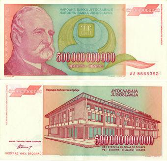Picture of Yugoslavia 500 Billion Dinara 1993 P137 Unc