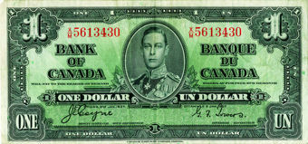 Picture of Canada 1 dollar 1937 George VI P58e Fine