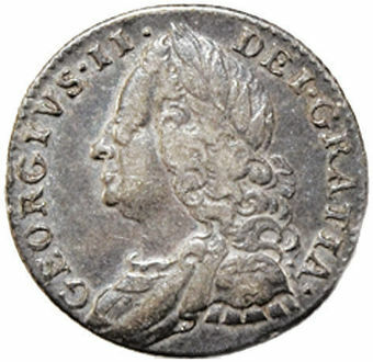 Picture of George II, Old Head Sixpence Fine