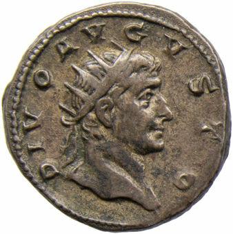 Picture of Trajan Decius' (A.D. 249-251) 'Divi' series commemorating past emperors. Augustus. 27 B.C. - A.D. 14. Rome - A.D. 251. AR Ant. CONSECRATIO.