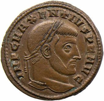 Maxentius. A.D. 307-312. Ostia - A.D. 309. Æ Follis. AETERNITAS AVG N_obv