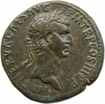 Nerva. A.D. 96-98. Rome - A.D. 97. Æ Sestertius. FORTVNA AVGVST_obv
