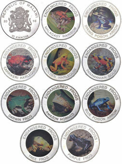 Picture of Malawi, Set of 10 Frogs Silver plated in colour
