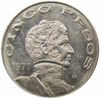 Picture of Mexico, 5 Pesos 1977 Unc