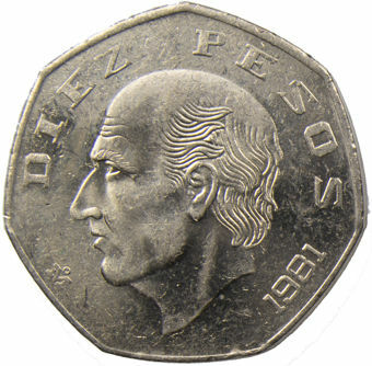 Picture of Mexico, 10 Pesos 1981 Unc