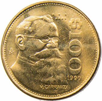 Picture of Mexico, $100 1990 (Carranza) Unc