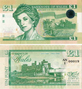 Picture of Diana  £1 Banknote Wales Fantasy Polymer Green