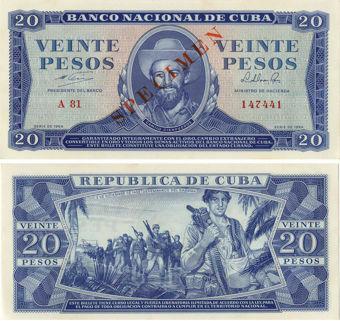 Picture of Cuba  Granma 20 pesos 1964 Specimen P97b Unc