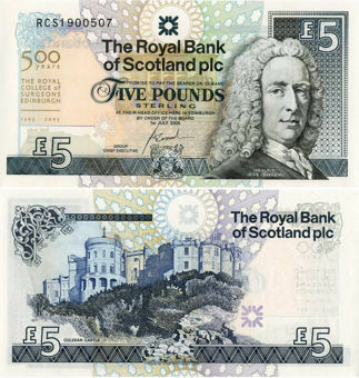 Picture of Royal Bank Royal College Surgeons 500 Years £5 2005 P364 Unc