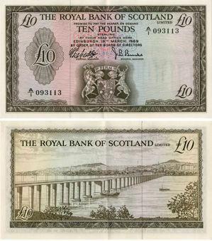 Picture of Royal Bank Scotland £10 1969 D3-1/P331 Crisp EF/GEF