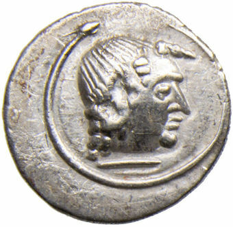 Arabia Felix - Himyarites. Amdan Bayyin Yanaf. Ca. 80-100 A.D. AR Scyphate Quinarius. MDNIBYN_obv