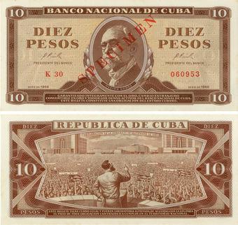 Cuba_10 pesos_1966-Specimen_P101 Unc