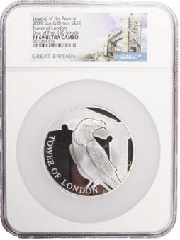 2019 £10 Raven 5 Oz PF69 Ultra Cameo_Slab