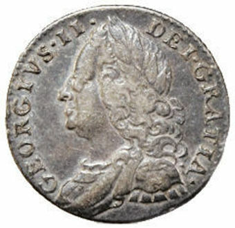 George II_Sixpence_(Old Head)_1757-1758_Very Fine_Obv