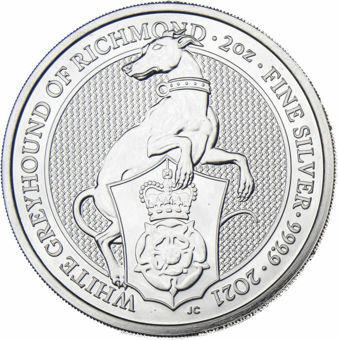 2021_£5_Queens_Beasts_White_Greyhound_of_Richmond_2_Oz_Silver_Piedfort_obv