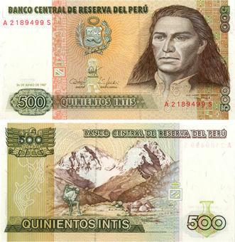 Picture of Peru 500 Intis 1987 P134b Unc