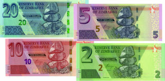Picture of Zimbabwe 2,5,10 & 20 Dollars  P-New Unc