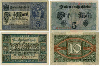 Germany 5 Marks 1917_Germany 10 Marks 1920