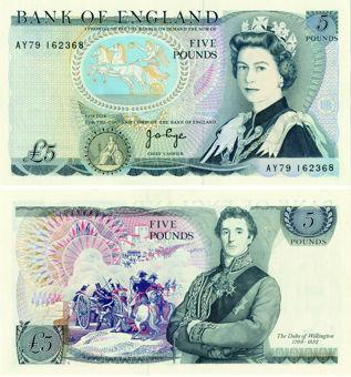 J B Page Pictorial  Wellington £5 B334 Unc_obv