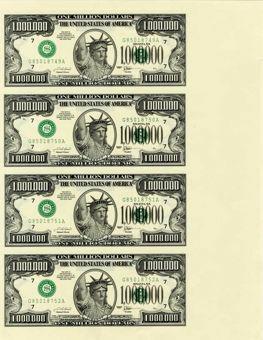 Million Dollar Bill - Uncut Sheet  x 4
