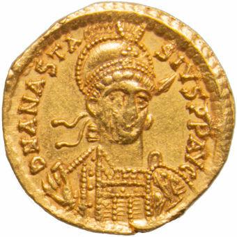 Anastasius I. A.D. 491-518. Constantinople. AV Solidus. VICTORIA AVGGG I_obv