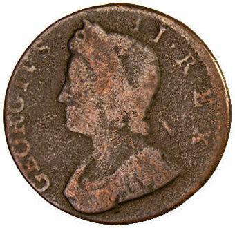 George II, Halfpenny (Old Head) VG_obv