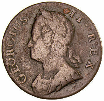 George II_Halfpenny_Young Head_VG_obv