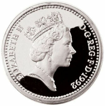 1992_£1_English_Pound_Silver_Proof _in_capsule_FDC_obv