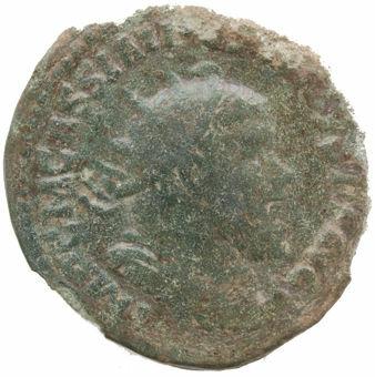 Postumus. A.D. 260-269. Gallic Empire. Trier - A.D. 261. Æ Double Sestertius. LAETITIA AVG_obv