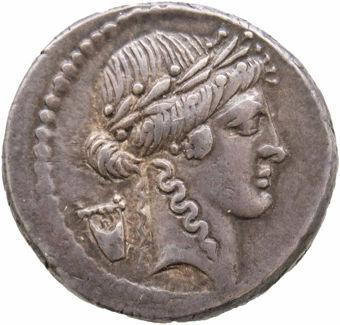 Roman Republic. 42 B.C. - P. Clodius M.f. Rome. AR Denarius. P.CLODIVS_obv