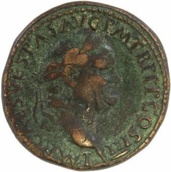 Vespasian. A.D 69-79. Rome - A.D. 71. Æ Sestertius. PAX AVGVSTI_obv