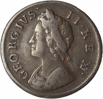 George II, Farthing (Young head) 1739 _obv