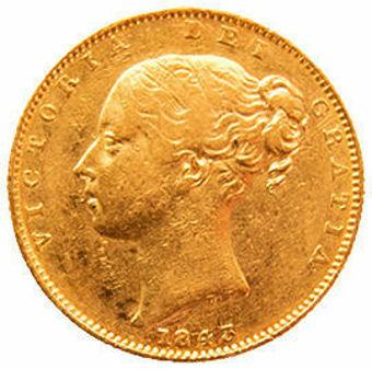 Victoria 1843 Shield Sovereign in Fine_obv
