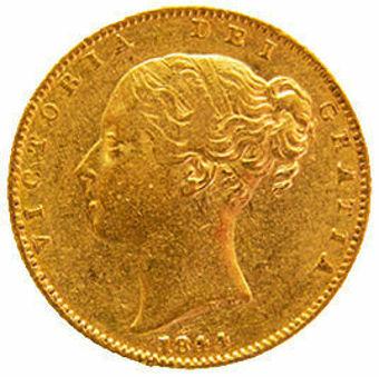 Victoria 1844 Shield Sovereign in Fine_obv