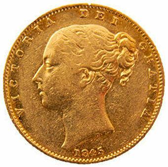 Victoria 1845 Shield Sovereign Fine_obv