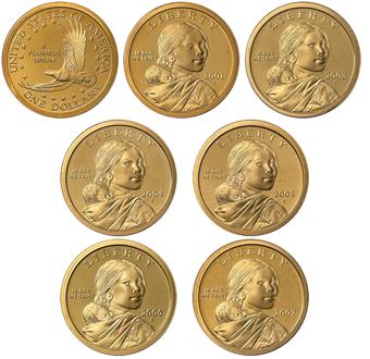 Collection_of_6_Proof_Sacagawea_US_Dollars