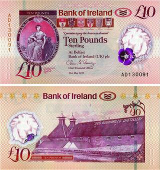N Ireland Bank Ireland £10 2017 (2019) P91 Polymer Unc