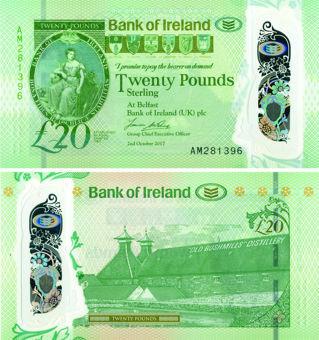 N Ireland Bank Ireland £20 2017 (2020) P92 Polymer  Unc