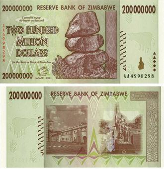 Zimbabwe 200 Million Dollars 2008 P81 Unc_obv