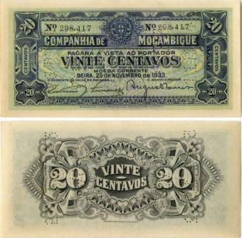 Mozambique 20 centavos 1933 PR29 AUnc