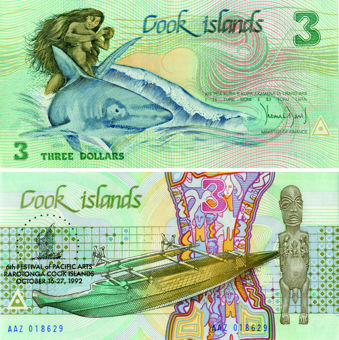Cook Islands 3 Dollars Green 6th Fest Pacific Arts 1992 P6 Unc