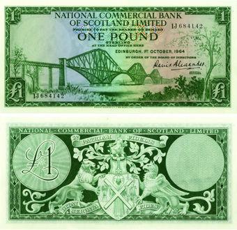National Commercial Bank of Scotland £1 1964 P269a AU/Unc