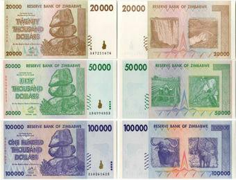 Zimbawe Set 3 20,000,50,000 & 100,000 Dollars 2008 P73-5 Unc