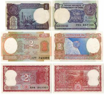 India Trio 1r & 2 X 2 Rupees (P53,P78A, P79)  Unc