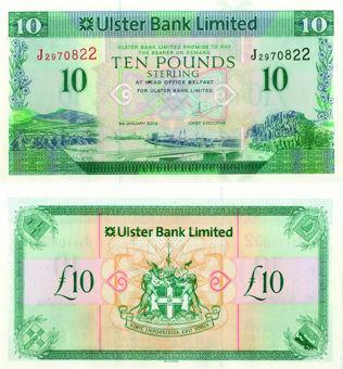 N Ireland Ulster Bank £10 2012 P341 Unc