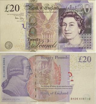 Andrew Bailey Adam Smith £20 B405 Crisp Unc