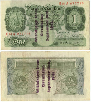 Guernsey German Occupation Notes. Peppiatt £1 overprinted. F-GF Condition