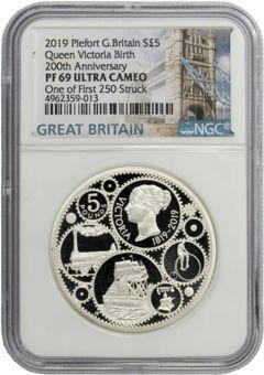 Elizabeth II, £5 (Victoria's 200th Anniversary) 2019 Silver Piedfort Proof 69 Ultra Cameo_obv